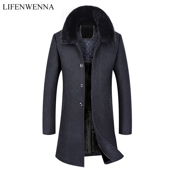 Men's Warm Long Woolen Coat 2019 New Arrival Winter High Quality Warm Thicked Trench Coat Men Men's Gray Wool Fur Collar Jackets