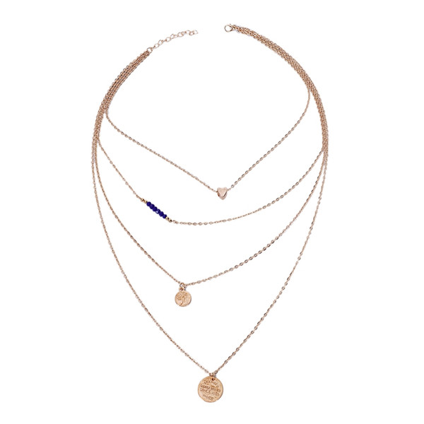 Multiple Layers Coin Beads Pendant Clavicle Chain Necklace Women Fashion Jewelry