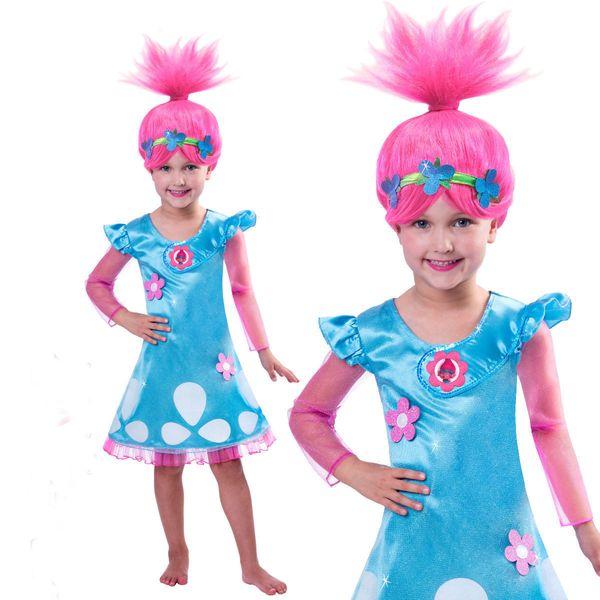Moda ragazza abito manica lunga Trolls ispirato Poppy Dress bambini abiti cosplay colore blu 5 p / l