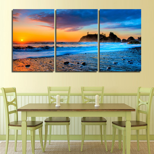 Wall Paintings Beach Sunset Sky Landscape Canvas Printed Poster Modular Frame Home Decoration Wall Art Hot Sale Modern Painting