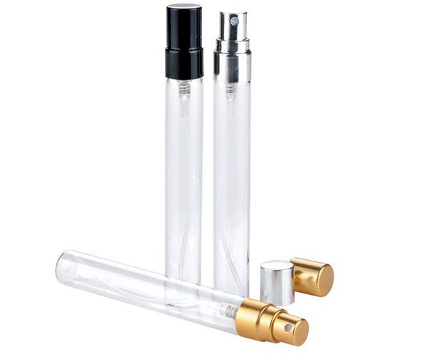 Schönheits-Duft 5ML 10ML transparente Glassprühflasche leeren freien nachfüllbaren Duftstoff-Zerstäuber-Goldsilber-Kappen-Beispielglasphiolen b706