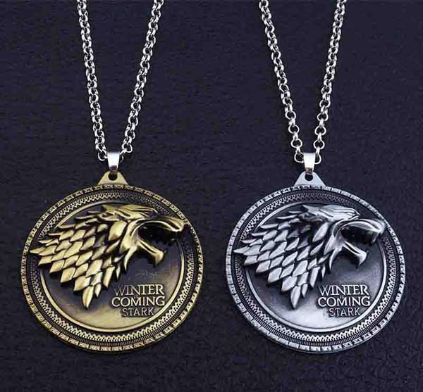 Oyun thrones kolye Evi Stark Kış Geliyor Metal Aile Crest kolye takı hediyelik eşya hediye Maxi Kurt Punk Erkekler