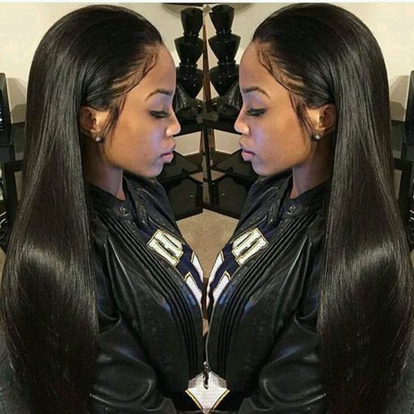 Straight Lace Front Hair Wigs Free Part Brazilian Remy Hair Wig 24 Pre Plucked Natural Hairline+wig Net