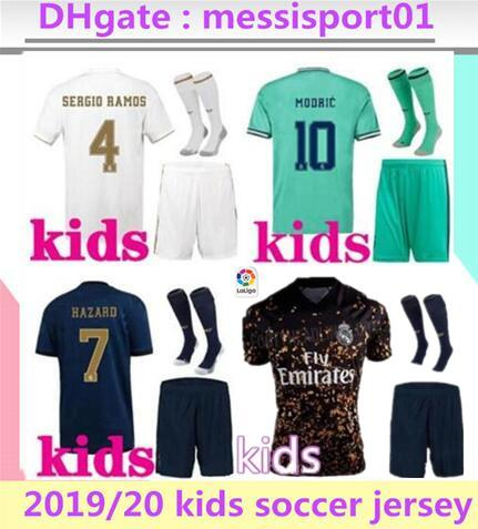 top popular 2019 20 kids Real Madrid soccer jersey #7 HAZARD KIDS kits with socks 19 20 Football shirt Asensio MODRIC ISCO child Soccer Sets 2020