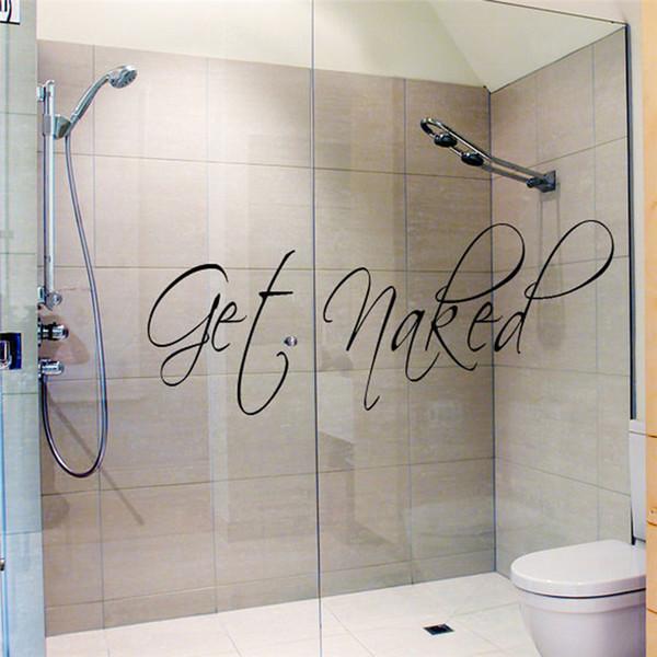 Kunst erhalten nackte Sprichwort-Zitate Badezimmer-Beschriftungs-Wort-Wand-Aufkleber-wasserdichter Vinylkleber-Kunst-Wand-Abziehbild-Fenster-Glas-Dekor