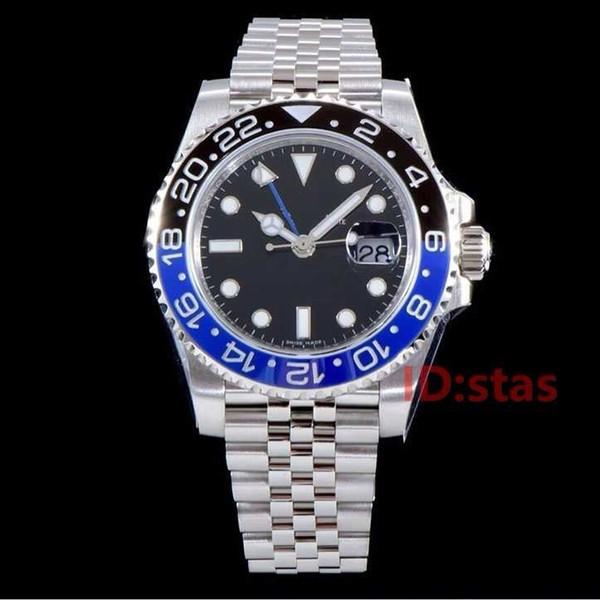Negro Azul PULSERA DE JUBILEO Cerámica Bisel Diseñador Mecánico Automático Gmt Hombres Reloj de pulsera de lujo para hombre Fecha Relojes de moda
