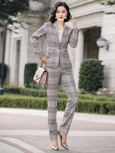 Único Breasted manta Blazers Pockets Blusão axadrezada Suits Brasão Casacos senhoras grandes plus size S-4XL calças escritório pant