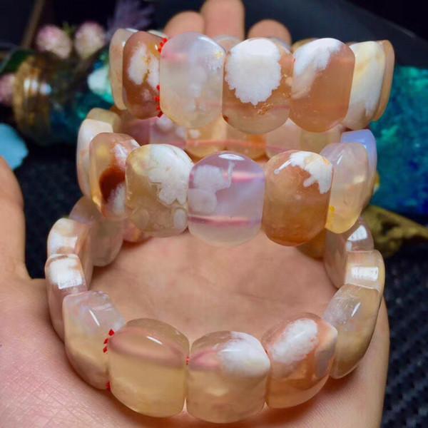 Echte Natürliche Kirsche Achat Rechteck Perlen Armband Edelstein Kristall Stretch-Armband Armreifen Für Frauen Femme Größe 18x13mm