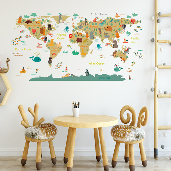 Cartoon World Map Wall Stickers PVC Self Adhesive Nursery Decor Decal on map t-shirt designs, map wall art, map book covers, map craft projects, map tattoo designs, map border designs, map wallpaper, map tiles, map art ideas, map canvas painting, map of america, map wall decal, map still life, map posters,