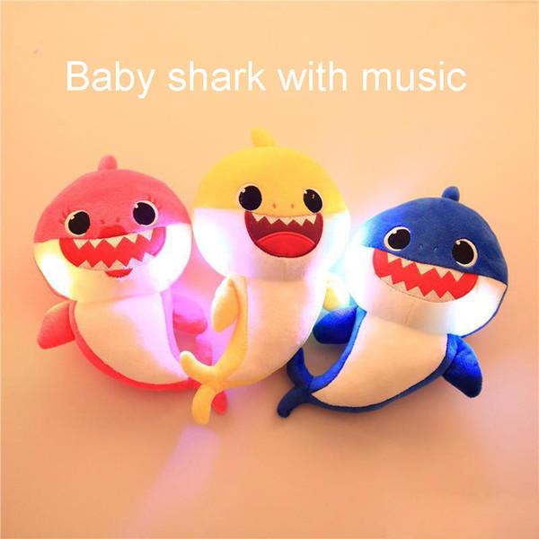 6 colores 30 cm bebé tiburón peluches abuelo abuela luz con dibujos animados de música animales de peluche muñecas suaves música tiburón peluche juguetes