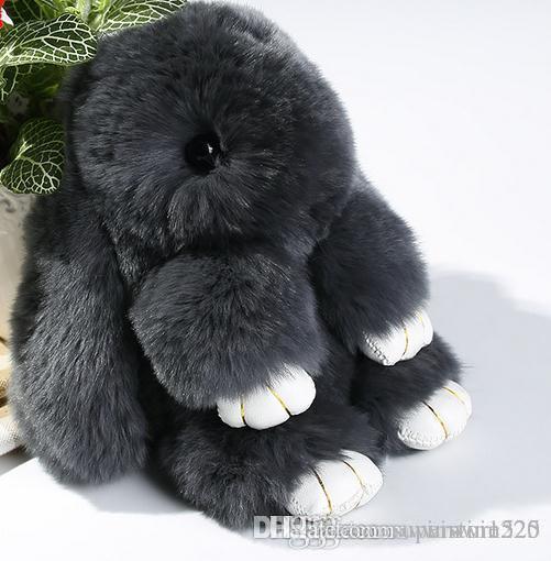100% Real Genuine Rex Rabbit Furs Keychain Fur Keychain Bag Charms Car Pendant Lovely Cartoon Handbag Keyrings