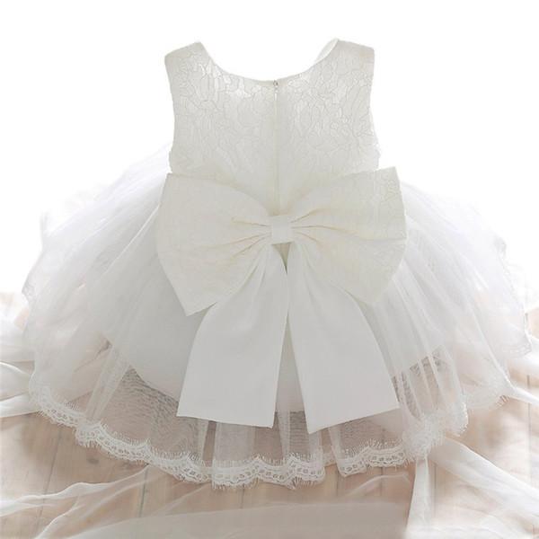 2019 Newborn Крещение платье для девочки белый Первый день рождения партии Носить Симпатичные девушки малыша рукавов крестины платье, Одежда
