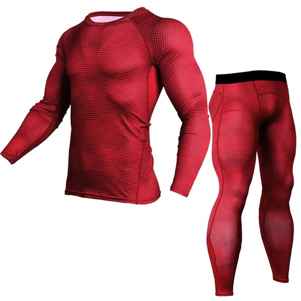 Men's Sports Running Set Compression Shirt + Pants Skin-Tight Long Sleeves Quick Dry Fitness Training Clothes Gym MMA Yoga Suits #74104