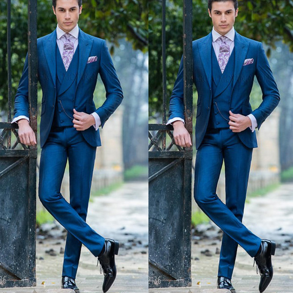2019 Navy Blue Formal Groom Wear 3 Pieces Shawl Lapel Men Suits Two Button High Quality Blazer