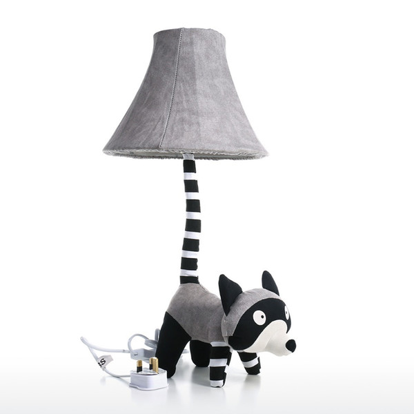 Grey Raccoon Table Lamp UK Plug Modern Stitched By Hand Cute Raccoon Table Lamp with Night Light for Bedroom Office