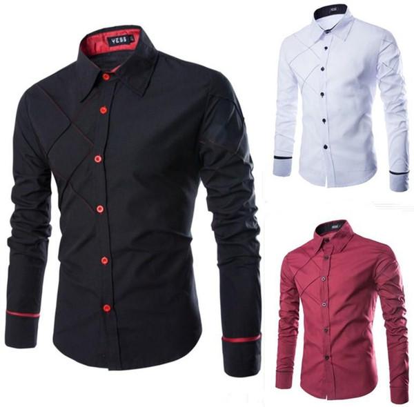 Langarm-Hemden der Männer Camisa Mens Entwerferkleid Shirts Erholungs Checker-Linie Entwurf New Langarm-Hemden der Männer