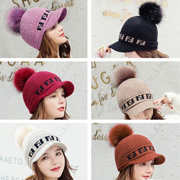 FF Hat Cap Череп зима Марка бейсболку меховые Pom Pom вязаные шапки с лицевым щитком Женщины Мужчины вязания Престижное Warm Спорт Лыжи Колпачки Beanie C120906