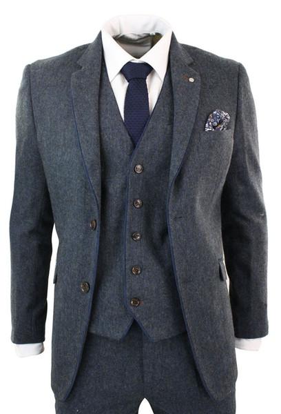 2018 Mens Suits Herringbone Tweed 3 Piece Suits Vintage Dark Gray Tailored Fit Wool Custom Wedding Tuxedos