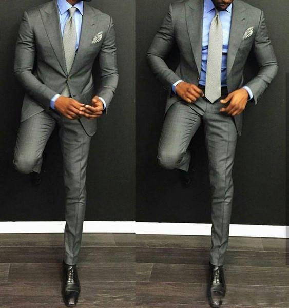 Fashion Light Grey Groom Tuxedos Excellent Peak Lapel Groomsmen Wedding Jacket Blazer Men Formal Prom/Dinner Suit(Jacket+Pants)