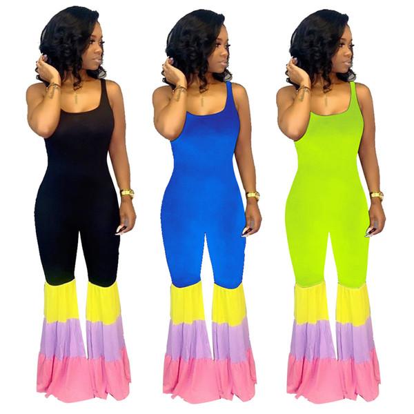 Women Full Length Jumpsuits Stitching Night Jumpsuit Contrast Color Flare Leggings Sleeveless V Backless Long Bodysuit Green Blue Black