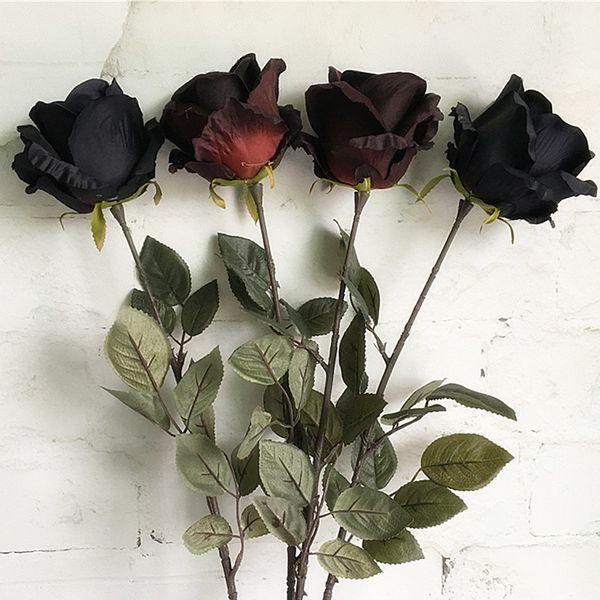 Large Black Rose Single Branch Silk Artificial Flowers Long Stem Australia Roses Fake Flower For Hotel Wedding Decoration Flores