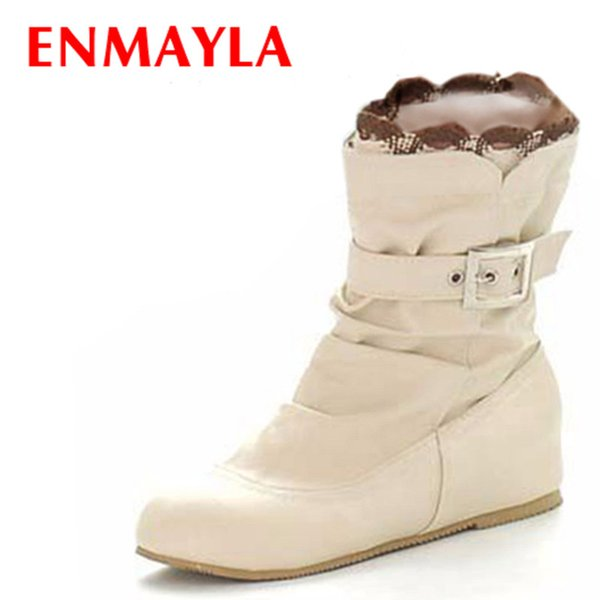 ENMAYLA Sweet Ruffles Ladies Ankle Boots for Women Black Pink White Flats Shoes Woman Buckle Autumn Short Boots Women Shoes