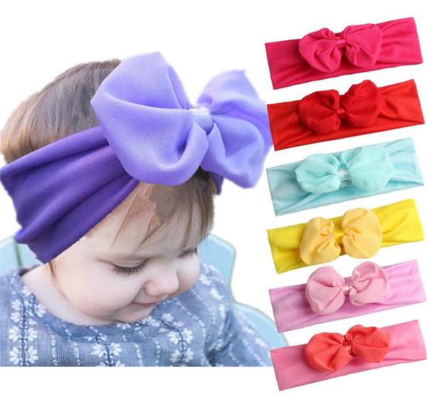 INS Baby Headbands Elastic Headband Children Kids Hair Accessories Fashion Hairbands Baby Girls Nylon Bow Headwear Headdress 11 colors