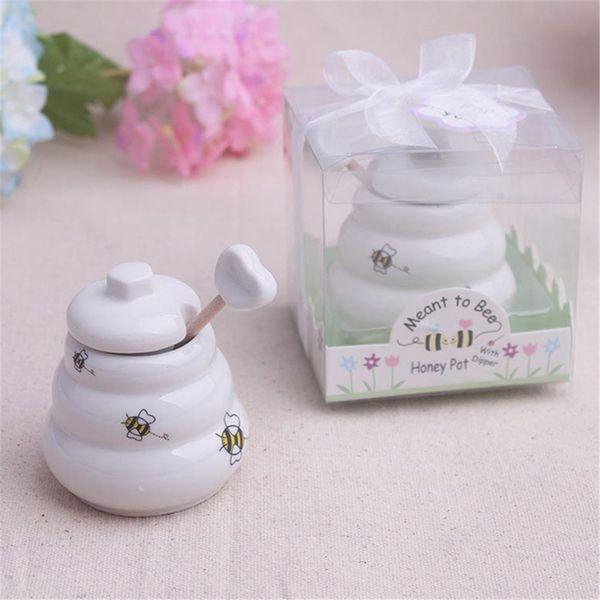 Originality Home Bee Honey Pot Seasoning Pots Kitchenware Birthday Party Wedding Ceremony Gifts Ceramic Honey Jar Kitchen Tools TTA538
