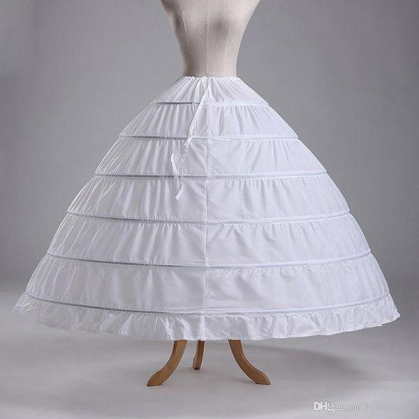 White 6 Hoops Ball Gown Petticoat Free Shipping Crinoline Underskirt Bridal Petticoats Slip Skirt Crinoline For Quinceanera Wedding Dresses