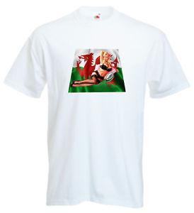 Clearance Sale Rugby Wales Cymru Welsh Sexy Model Pin Up T Shirt Mens White 2XL