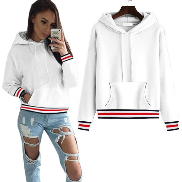 Sweatshirt For Women Korean Style Striped Patchwork Tracksuit Femme Pullover Autumn Jumper Ladies Casual Hoodies Tops