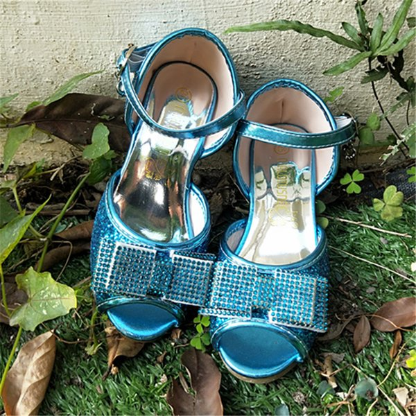 Peep Toe Sandales À Talons Hauts Fille Fille Chaussures Avec Strass Étincelante Paillettes Robe De Soirée Chaussures 502-7