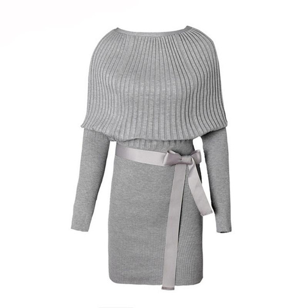 Sexy Cotton Bow Elastic Spring Autumn Black and Gray Knitted Dresses 2018 Explosion Women's Sweater Dress Vestidos Belt Party Dresses