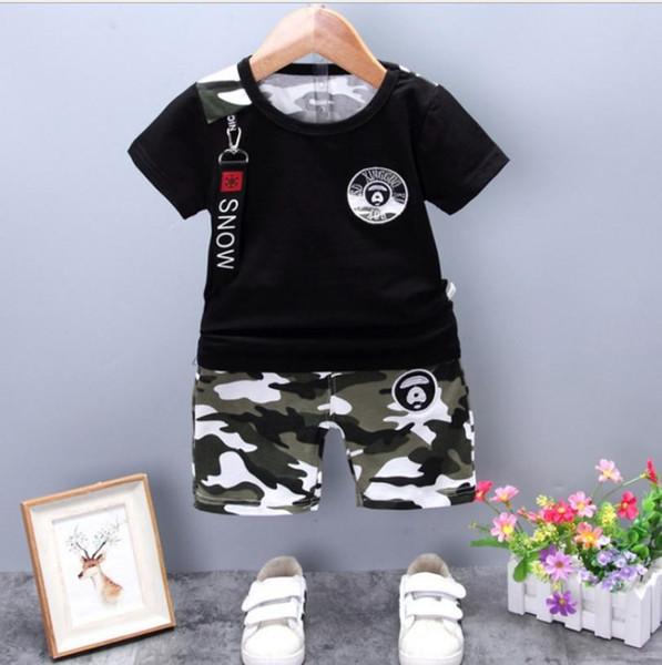 Verano de Camuflaje Ocasional Bebé Recién Nacido Boy Toddler Clothes Set T Shirt Tops Pantalones 2 Unids / set Algodón Ropa Trajes de los niños
