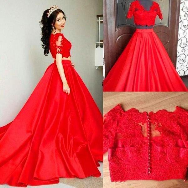 Abiti da sera rossi a due pezzi Quinceanera Sweet 15 Ragazza Prom Party indossa gonna di raso Vestido De Soiree Abiti formali Lungo BA5148