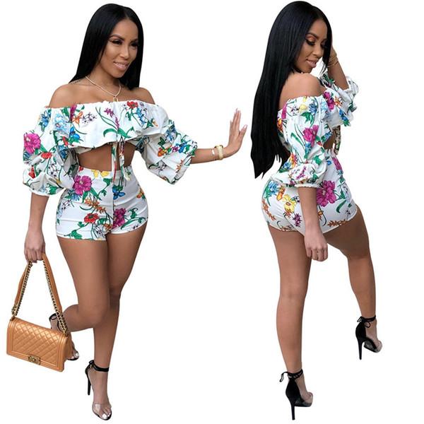 Estampado floral de dos piezas Conjunto Sexy de verano Conjuntos de mujeres Sin tirantes Crop Top Shorts 2 piezas Conjunto Moda Casual mujer fuera trajes de hombro