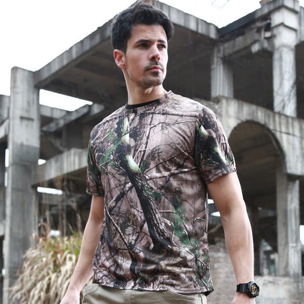 T-shirt da uomo per allenamento sportivo all'aria aperta Quick Dry T-Shirt Arrampicata Escursionismo Campeggio Arrampicata Camo Maglietta tattica militare traspirante