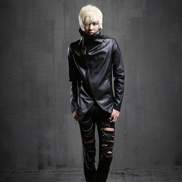 Discoteca DJ punk rock chaqueta de cuero delgada oblicua con cremallera diseño hombres cuello alto motocicleta motociclista imitación chaquetas y abrigos de cuero