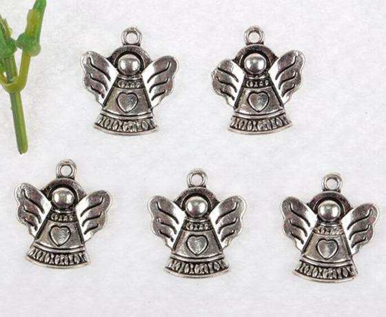 Hot Sale Heart Angel Charms Pendant Vintage Silver Exquisite Lucky For Jewelry Making Bracelet Necklace Crafts Handmade Accessories Gifts