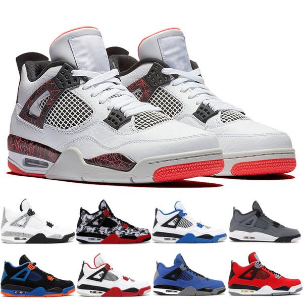 2020 vente chaude 4 4 4 s Laser Black Gum lave chaude Mens chaussures de basket-ball Designer gris formateurs hors baskets chaussures de sport
