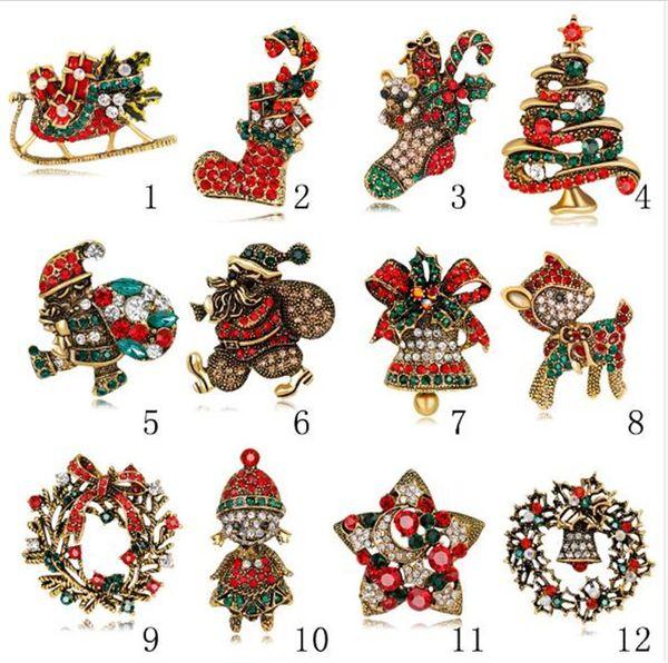 Красочные Кристалл Rhinestone Рождественская елка Pin Брошь Рождественские подарки Ювелирные Изделия Модная Одежда броши R361
