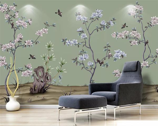 Papier peint écologique sur mesure ginkgo peint à la main fleurs et oiseaux fond classique papel de parede mur pape