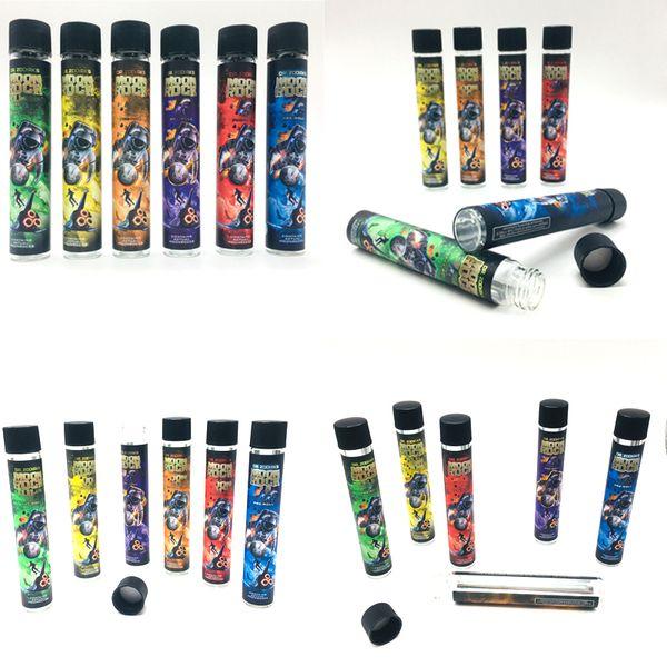 Moonrock di vetro libera del tubo bottiglie contenitore Vape cartucce Imballaggio DANKWOODS Vuoto E Cigarette tubo Legno Sughero Consigli pre-roll Stickers Label