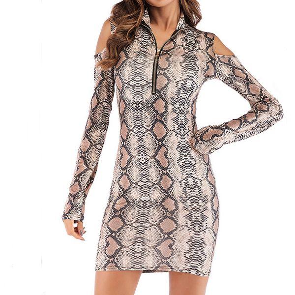 Lady женский девичий Girl моды платье Tight Leopard платье Bodycon платье Тонкий Fall Off-плечо оболочки Колонка Sexy Club B102225Z