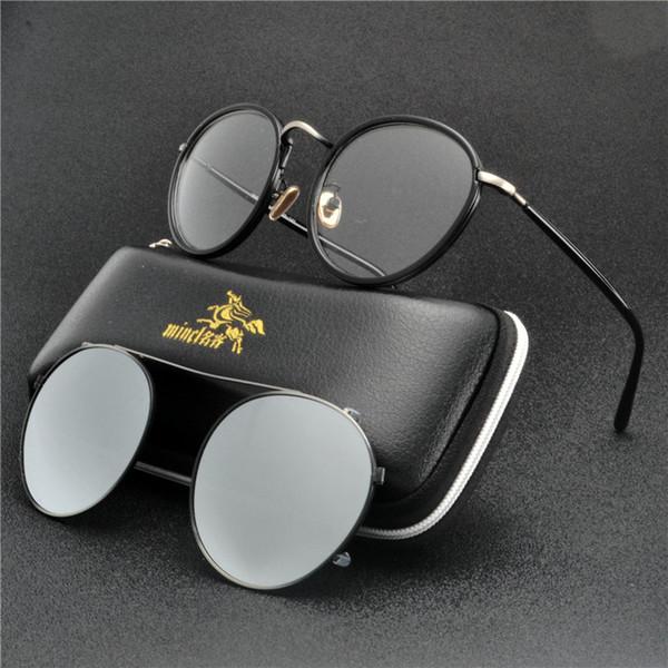 2 Runde Clip Auf Sonnenbrille Männer Polarisierte Magnetische TR90 Metall Brillengestell Myopie Brillen Frauen sonnenbrille uv FML