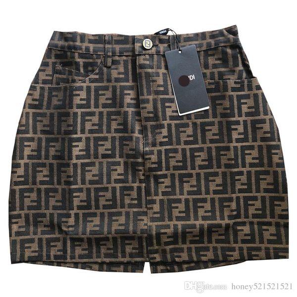 New design women's F letter jacquard high waist a-line short skirt runway fashion skirt plus size S M L XL
