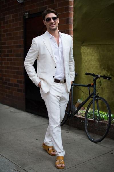 2019 Summer Beach Tuxedo Simple Custom Made 2 Piece Jacket Mens Suits Latest Coat Pant Designs Ivory/White Linen Casual Men Suit