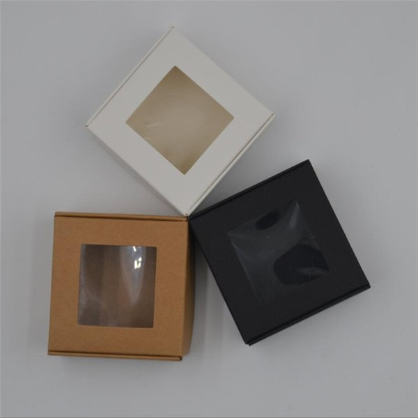 150pcs 4 sizes DIY Kraft Paper Box Clear window Gift Box For Wedding Favors Birthday Party Candy Handmade Soap Packing