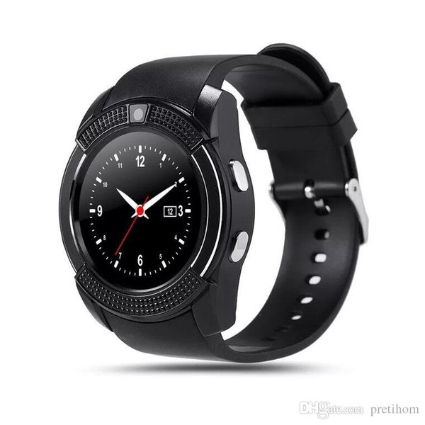 V8 Smart Watch Bluetooth Watches GSM Phone with 0.3M Camera MTK6261D Smartwatch for Android IOS Phone Micro Sim TF card with Retail Package