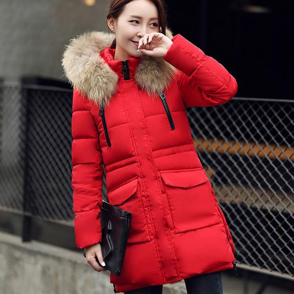 Neue Frauen Winter warm halten Großer Pelzkragen Mode lange Ärmel mit Kapuze dickere Dünne Mittellange Daunenjacke